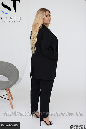 Льняний чорний костюм з брюками і піджаком батал Розміри: 48-50, 52-54, 56-58, 60-62, фото 2