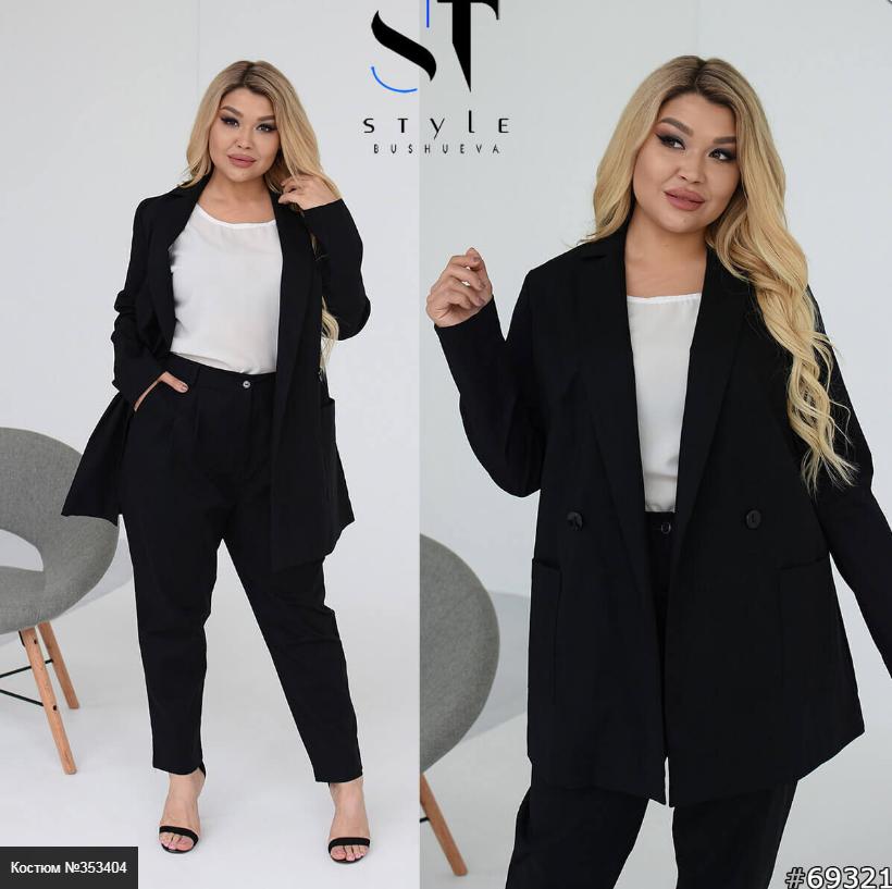 Льняний чорний костюм з брюками і піджаком батал Розміри: 48-50, 52-54, 56-58, 60-62