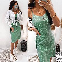 Комплект: летнее легкое на брительках платье по колено и белая рубашка, несколько цветов,S,M,L,XL