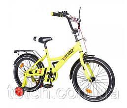 Велосипед дитячий двоколісний Tilly T-218112 Explorer, 18 дюймів, жовтий