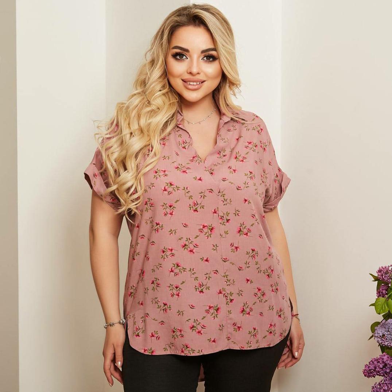 Красива жіноча сорочка в квіточку великих розмірів