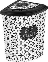 Корзина для белья угловая ELIF Plastiк с рисунком Keep Clean (40*53*55 см) 48 л. Е-338