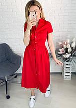Стильное коттоновое платье миди под туфли или кроссовки несколько цветов, Норма и Батал