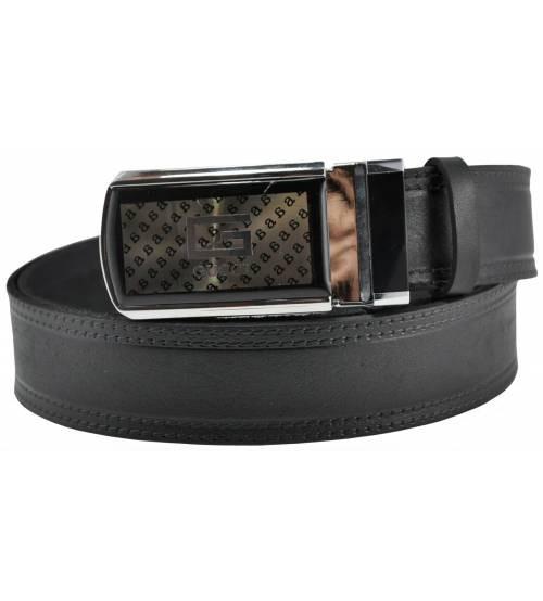 Мужской кожаный ремень Gucci 76-03 черный 3.5 см (реплика)