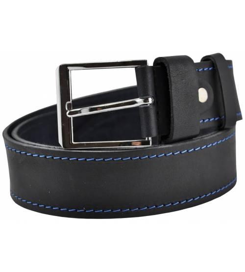 Кожаный ремень 76-14 с синей строчкой черный 4 см