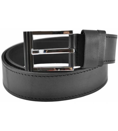 Мужской кожаный ремень 76-28 черный 4 см