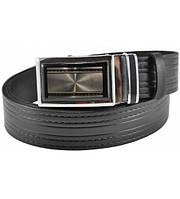 Мужской кожаный ремень 76-29 полосатый черный 3.5 см