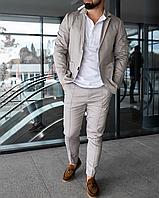 Серый льняной классический костюм мужской | 100% лён
