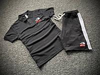 Мужской летний комплект Футболка Поло и Шорты с лампасами Supreme черный, Летний спортивный костюм Суприм