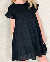 Легкое летнее свободное платье из прошвы с подкладкой: чёрное, белое, пудра Норма и Батал