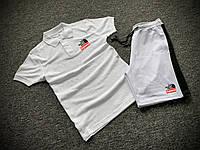 Мужской летний комплект Футболка Поло и Шорты с лампасами Supreme белый, Летний спортивный костюм Суприм