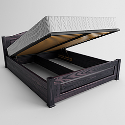 Ліжко дерев'яне двоспальне Венеція з підйомним механізмом (масив ясена)