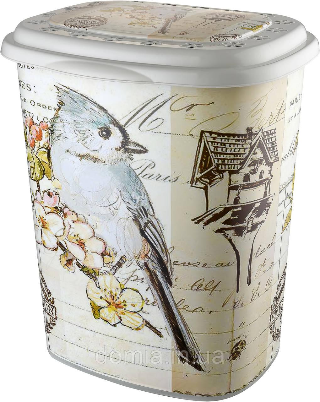 Корзина для белья ELIF Plastiк с рисунком Птицы (38*45*53 см) 50 л, Е-339