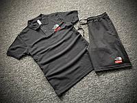 Мужской летний комплект Футболка Поло и Шорты Supreme черный, Летний спортивный костюм Суприм Турция