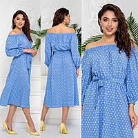 Сукня з принтом розрізом, довжина міді. арт А513, колір блакитний/горох