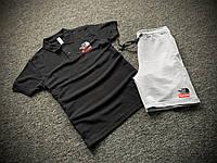 Мужской летний комплект Футболка Поло и Шорты Supreme черно-серый, Летний спортивный костюм Суприм Турция