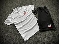Мужской летний комплект Футболка Поло и Шорты Supreme бело-черный, Летний спортивный костюм Суприм Турция