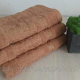Полотенце банное махровое Листок 140x70cm (300г/м2) песочное