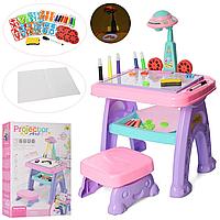 Детский мольберт столик с проектором и стульчиком 22088-30A буквы английские и цифры, маркеры, 8 слайдов