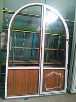 Арочное окно 1300х2100 REHAU Euro-Design 70 с двухкамерным энергосберегающим стеклопакетом, ламинат