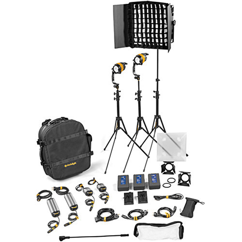Dedolight DLED4.1/Felloni 2x1 Bi-Color 3-Light Master Kit (Mains & Battery Operation) (BLED2X1-BI-M)