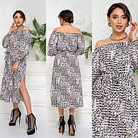Сукня з принтом розрізом, довжина міді. арт А513, колір білий/візерунок