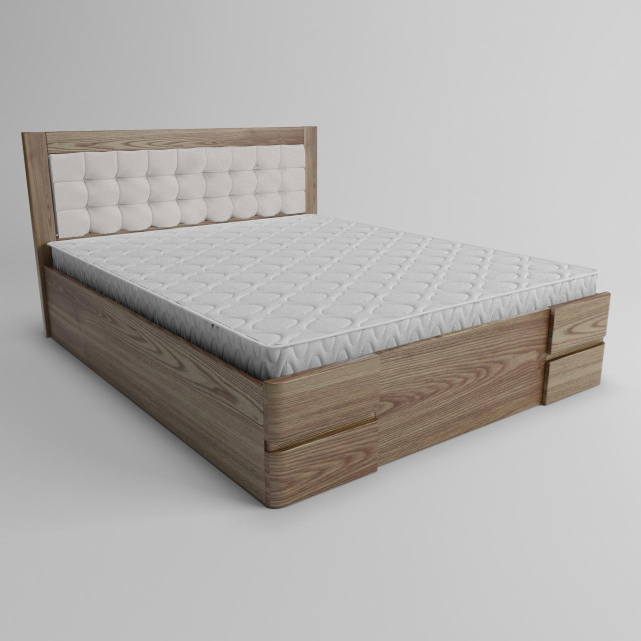 Кровать деревянная двуспальная Регина с подъемным механизмом (массив ясеня)