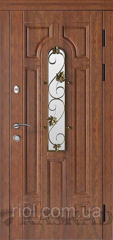Двері вхідні Ліана зі склом і ковкою серії ПраймТМ Каскад