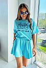 Блакитний літній костюм спідниця шорти з принтом, фото 2