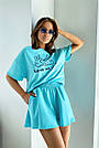 Блакитний літній костюм спідниця шорти з принтом, фото 3