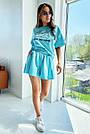 Блакитний літній костюм спідниця шорти з принтом, фото 4