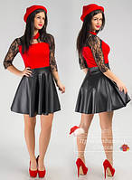 Красивое стильное платье с кожаной юбкой. Арт-3852/31.