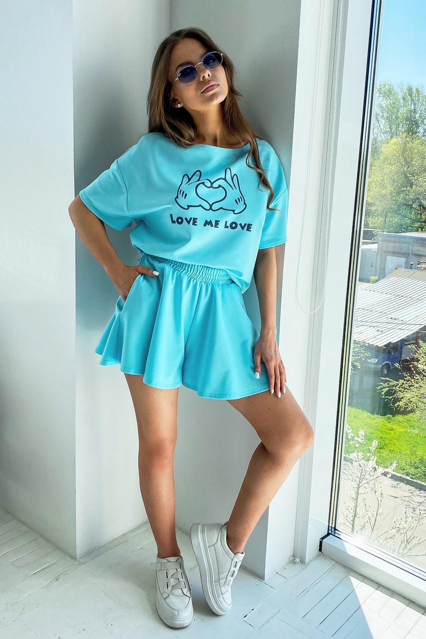 Блакитний літній костюм спідниця шорти з принтом