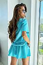 Блакитний літній костюм спідниця шорти з принтом, фото 6