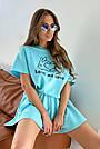 Блакитний літній костюм спідниця шорти з принтом, фото 7