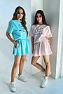 Блакитний літній костюм спідниця шорти з принтом, фото 8