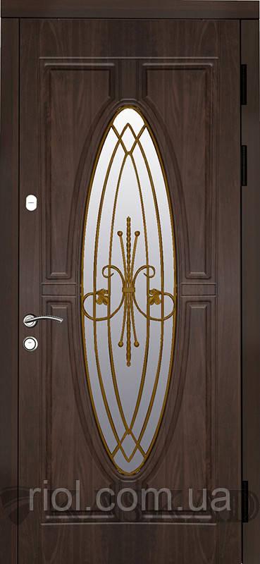Двері вхідні Лотос зі склом і ковкою серії Класик ТМ Каскад