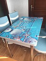 Стеклянный стол со стульями на кухню. Комплект стол (110*70см *150см) и 4 стула. Турция