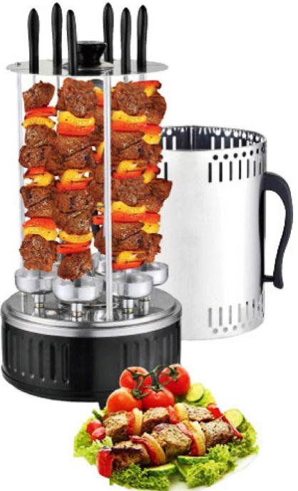 Шашлычница вертикальная электрическая  на 6 шампуров 1000W