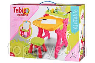 Столик мольберт Same Toy зі стільчиком і канцелярією рожевий (8816Ut)