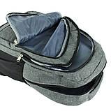 Рюкзак городской универсальный тканевый серый, фото 4