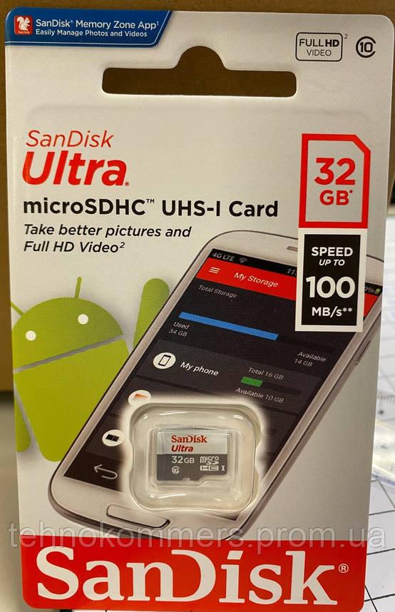 Карта пам'яті SanDisk microSDHC Ultra 32GB Class 10 A1 Без адаптера, фото 2