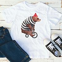 Мужская футболка Bear on a bike, фото 1