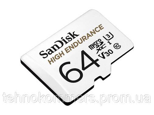 Карта пам'яті SanDisk microSDXC High Endurance 64GB Class 10 UHS-I (U3) V30 до 40 МБ/с R-100MB/s +SD-адаптер, фото 2