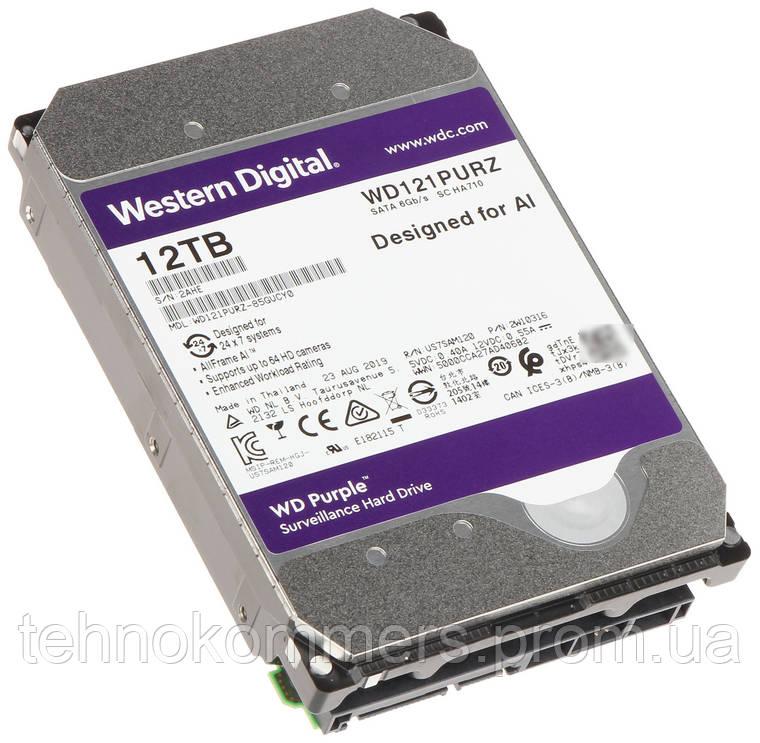 """Дисковий накопичувач внутрішній Western Digital Western Digital 3.5"""" Purple 12TB 3,5"""" SATAIII 7200 об/хв, фото 2"""