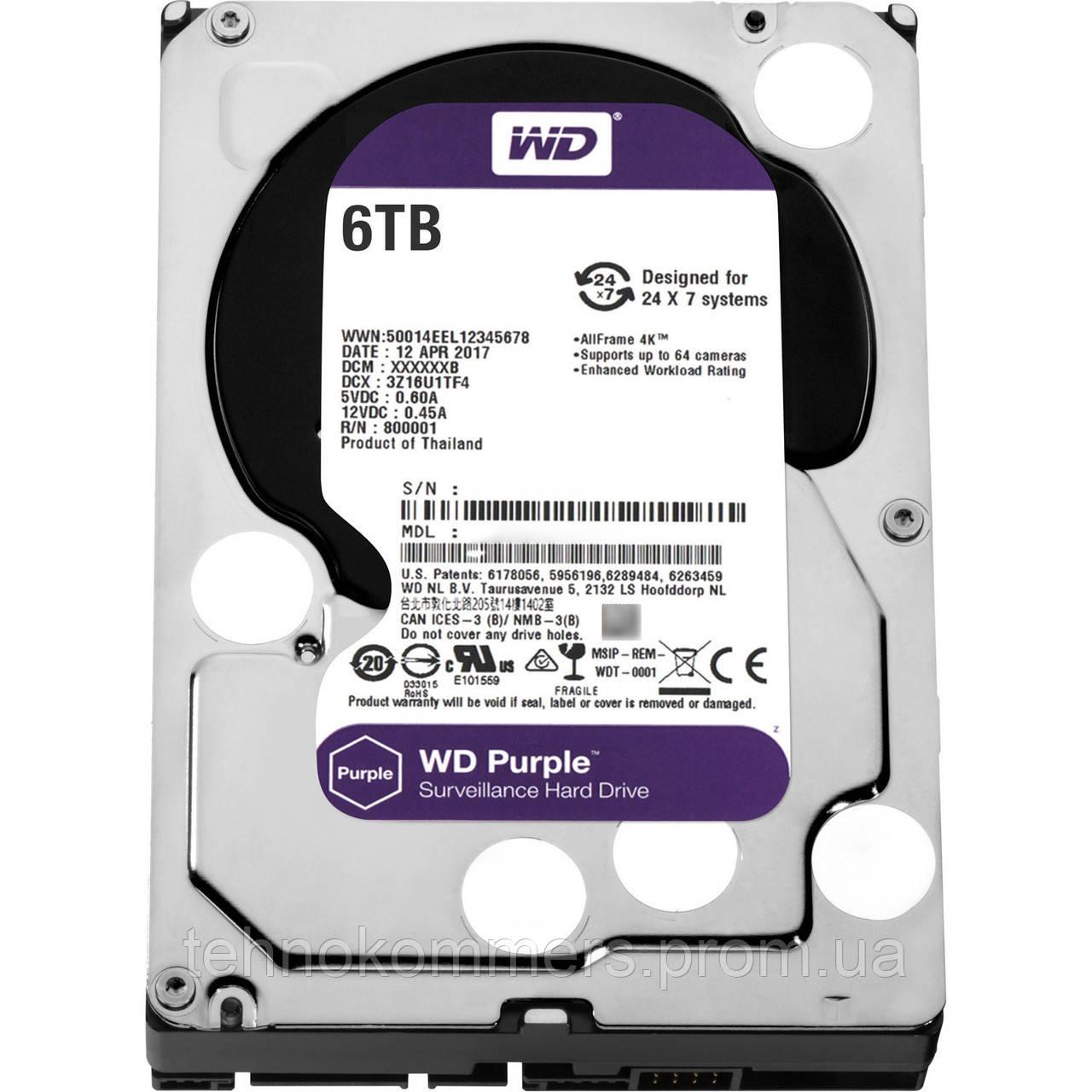 """Дисковий накопичувач внутрішній Western Digital Western Digital 3.5"""" Purple 6TB 3,5"""" SATAIII 5400 об/хв"""