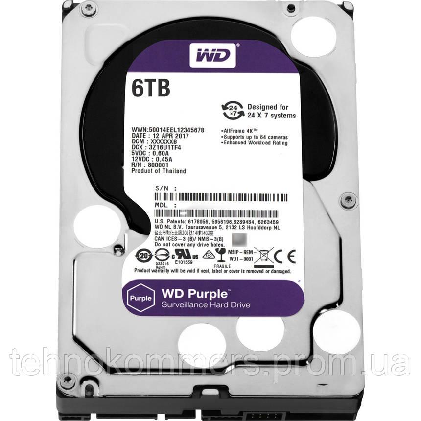 """Дисковий накопичувач внутрішній Western Digital Western Digital 3.5"""" Purple 6TB 3,5"""" SATAIII 5400 об/хв, фото 2"""