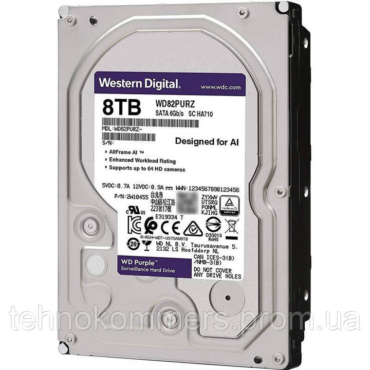 """Дисковий накопичувач внутрішній Western Digital Western Digital 3.5"""" Purple 8ТВ 3,5"""" SATAIII 5400 об/хв, фото 2"""