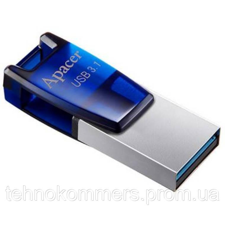 Флеш-накопичувач Apacer USB3.1/micro-USB AH179 16GB Silver-Blue, фото 2