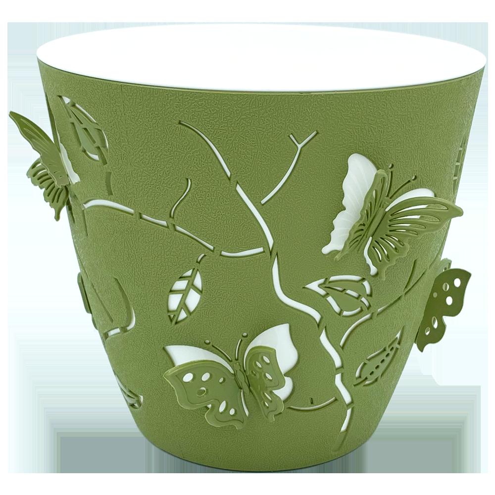 Набор горшков для цветов Бабочки 3D 2,5 л / 5 шт тёмно-зелёный Турция